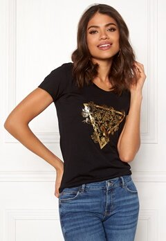 Guess SS CN Flowers Tee Jet Black Bubbleroom.eu