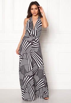Goddiva Resort Halter Neck Maxi Dress Abstract Stripe Bubbleroom.eu