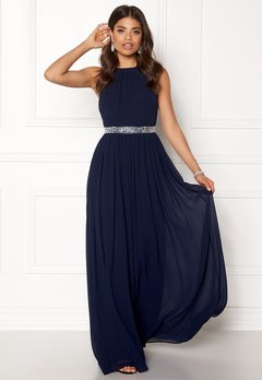 Goddiva Halterneck Chiffon Maxi Dress Navy Bubbleroom.eu