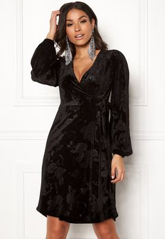 Happy Holly Abrianna velour dress Black Bubbleroom.eu