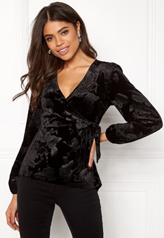 Happy Holly Abrianna velour top Black Bubbleroom.eu