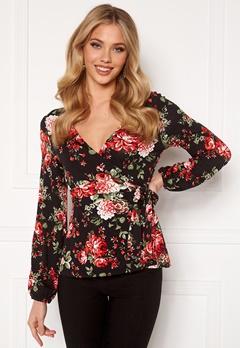 Happy Holly Amanda puff sleeve wrap top Black / Patterned Bubbleroom.eu