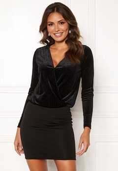 Happy Holly Angela velour dress Black Bubbleroom.eu