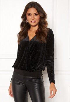 Happy Holly Angela velvet top Black Bubbleroom.eu