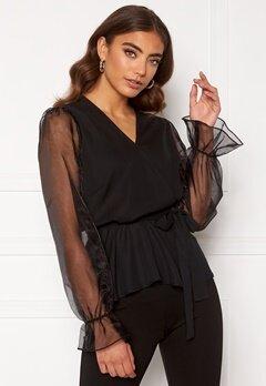 Happy Holly Athena bow sleeve blouse  Black Bubbleroom.eu