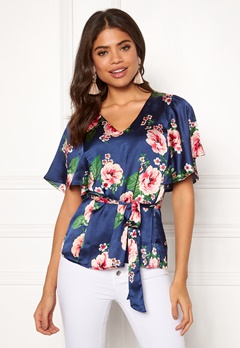 Happy Holly Bella blouse Dark blue / Patterned Bubbleroom.eu
