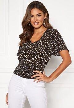 Happy Holly Bianka smock blouse Black / Patterned Bubbleroom.eu
