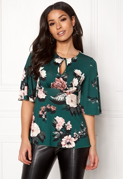 Happy Holly Clara top Dark green / Patterned Bubbleroom.eu