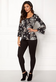 Happy Holly Darlene top Black / Patterned Bubbleroom.eu