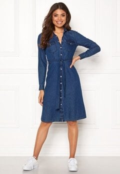 Happy Holly Doris denim dress Dark denim Bubbleroom.eu