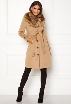 Happy Holly Elisa coat with belt Camel Bubbleroom.eu