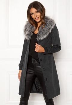 Happy Holly Elisa coat with belt Dark grey melange Bubbleroom.eu
