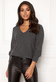 Happy Holly Elly puff sleeve top Dark grey melange Bubbleroom.eu