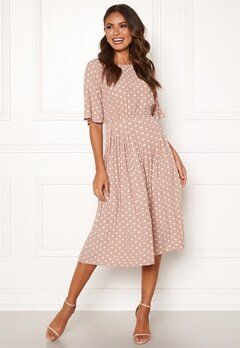 Happy Holly Eloise pleated dress Pink / Dotted Bubbleroom.eu
