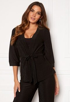 Happy Holly Estelle lurex kimono jacket Black Bubbleroom.eu