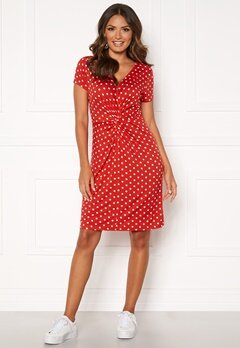 Happy Holly Fiona dress Coral red / Dotted Bubbleroom.eu