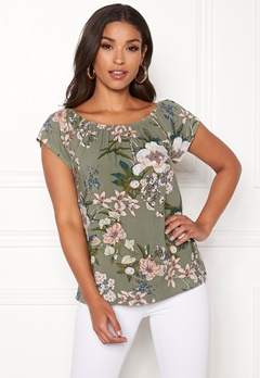Happy Holly Fredrika singoalla top Khaki green / Patterned Bubbleroom.eu