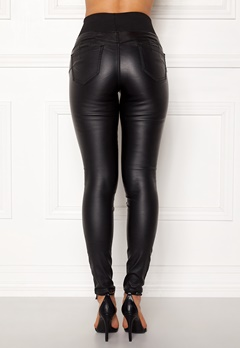 Happy Holly Freja push-up coated treggings Black Bubbleroom.eu