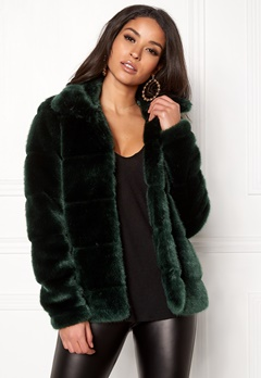 Happy Holly Gia fur jacket Dark green Bubbleroom.eu