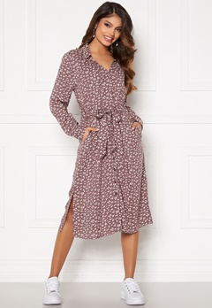 Happy Holly Iris Shirt dress Dusty pink / Beige Bubbleroom.eu