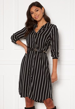 Happy Holly Juliette shirt dress Black / Offwhite Bubbleroom.eu