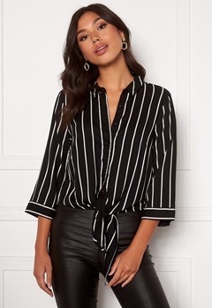Happy Holly Juliette ss knot shirt Black / Offwhite Bubbleroom.eu