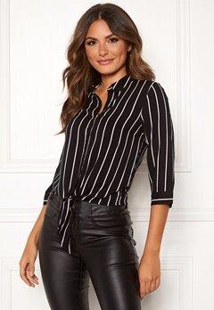 Happy Holly Juliette ss knot shirt Black / Striped Bubbleroom.eu