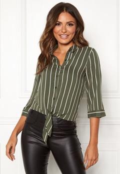 Happy Holly Juliette ss knot shirt Khaki green / Striped Bubbleroom.eu