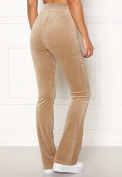 Happy Holly Kaylee velour flared leggings Light mole Bubbleroom.eu