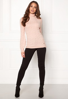 Happy Holly Kira cable knitted sweater Light pink / Melange Bubbleroom.eu