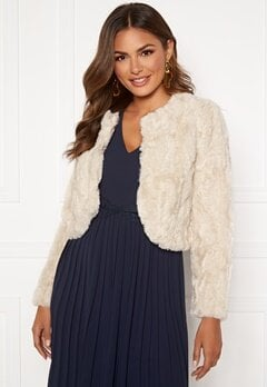Happy Holly Kirsten fur jacket Light beige Bubbleroom.eu
