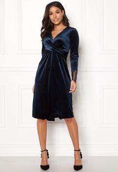 Happy Holly Leonora velour dress Dark blue Bubbleroom.eu