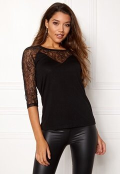 Happy Holly Lindsey lace top Black Bubbleroom.eu
