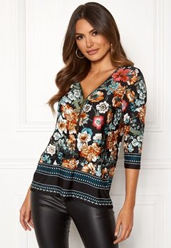 Happy Holly Marion top Black / Patterned Bubbleroom.eu