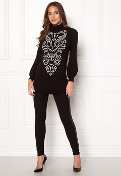 Happy Holly Melanie long sweater Black / White Bubbleroom.eu