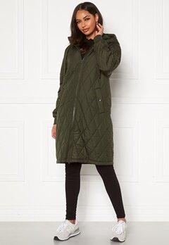 Happy Holly Melanie quilted hood jacket Khaki green Bubbleroom.eu