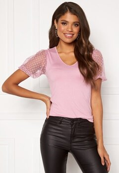 Happy Holly Melissa v-neck puff top Dusty pink Bubbleroom.eu