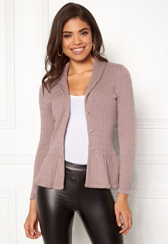 Happy Holly Patricia cable cardigan Dusty pink Bubbleroom.eu