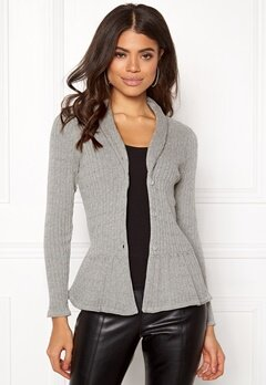 Happy Holly Patricia cable cardigan Grey melange Bubbleroom.eu