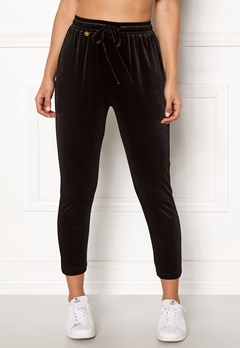 Happy Holly Pearl velour pants Black Bubbleroom.eu