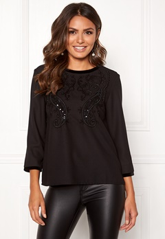 Happy Holly Sabrina blouse Black Bubbleroom.eu