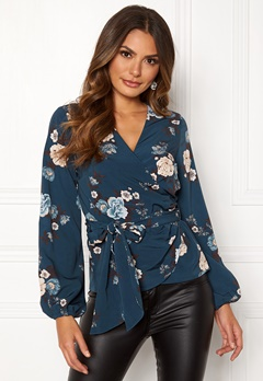 Happy Holly Samantha blouse Petrol-blue / Patterned Bubbleroom.eu