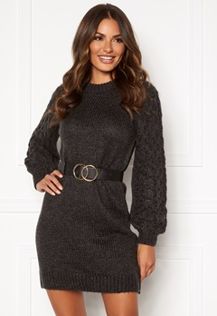 Happy Holly Sara long sweater Dark grey melange Bubbleroom.eu