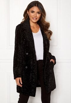 Happy Holly Sienna fur coat Black Bubbleroom.eu