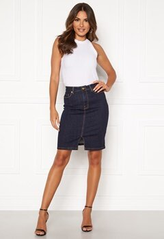 Happy Holly Skyler denim skirt Dark denim Bubbleroom.eu