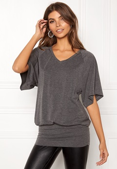 Happy Holly Sussie top Dark grey melange Bubbleroom.eu