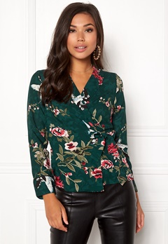 Happy Holly Tara wrap blouse Dark green / Patterned Bubbleroom.eu