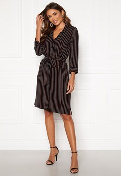 Happy Holly Thea shirt dress Black / Striped Bubbleroom.eu