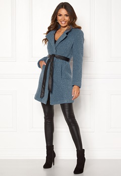Happy Holly Tuva wool coat Dusty blue Bubbleroom.eu