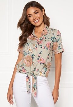 Happy Holly Vilma knot shirt Beige / Floral Bubbleroom.eu